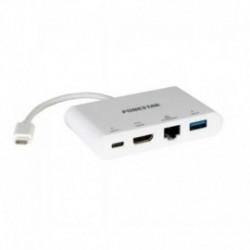 ADAPTADOR / HUB USB TIPO C 4 EN 1 FONESTAR FO-55CH - USB TIPO-C CON SALIDAS 1*USB TIPO-C HEMBRA/HDMI/RJ45 HEMBRA/ USB 3.0 HEMBRA